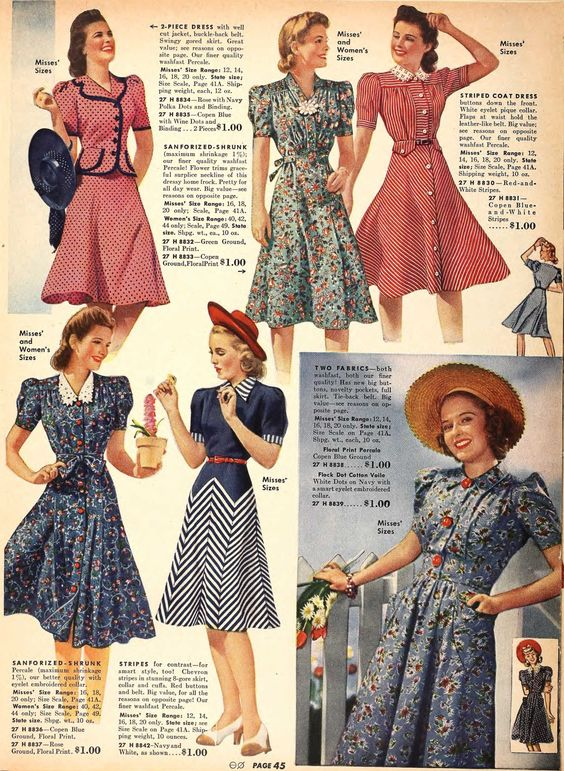 20th century fashion history 1940-1950