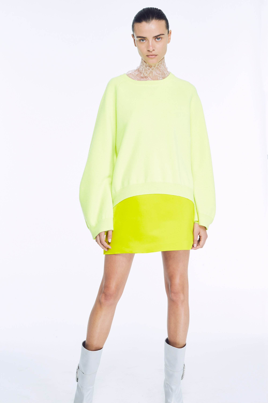 Adam Lippes Resort 2018 Neon Colors Summer 2017 Neon Yellow Jumper Skirt White Boots