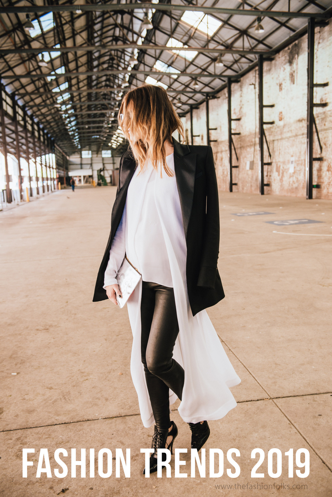 Fashion Trends 2019 White Shirt Dress Black Blazer Shoes