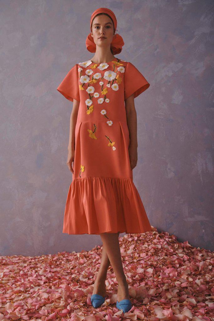 Carolina Herrera Resort 2020   Orange dress with white florals