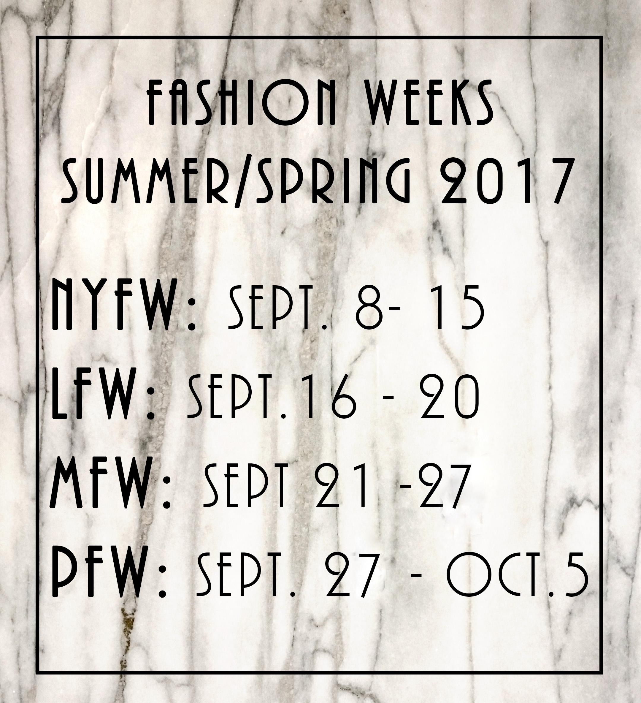 fashion weeks 2016