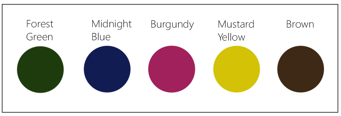 Fall Colors For Summer - The Fashion Folks - Forest Green Midnight Blue Burgundy Mustard Yellow Brown
