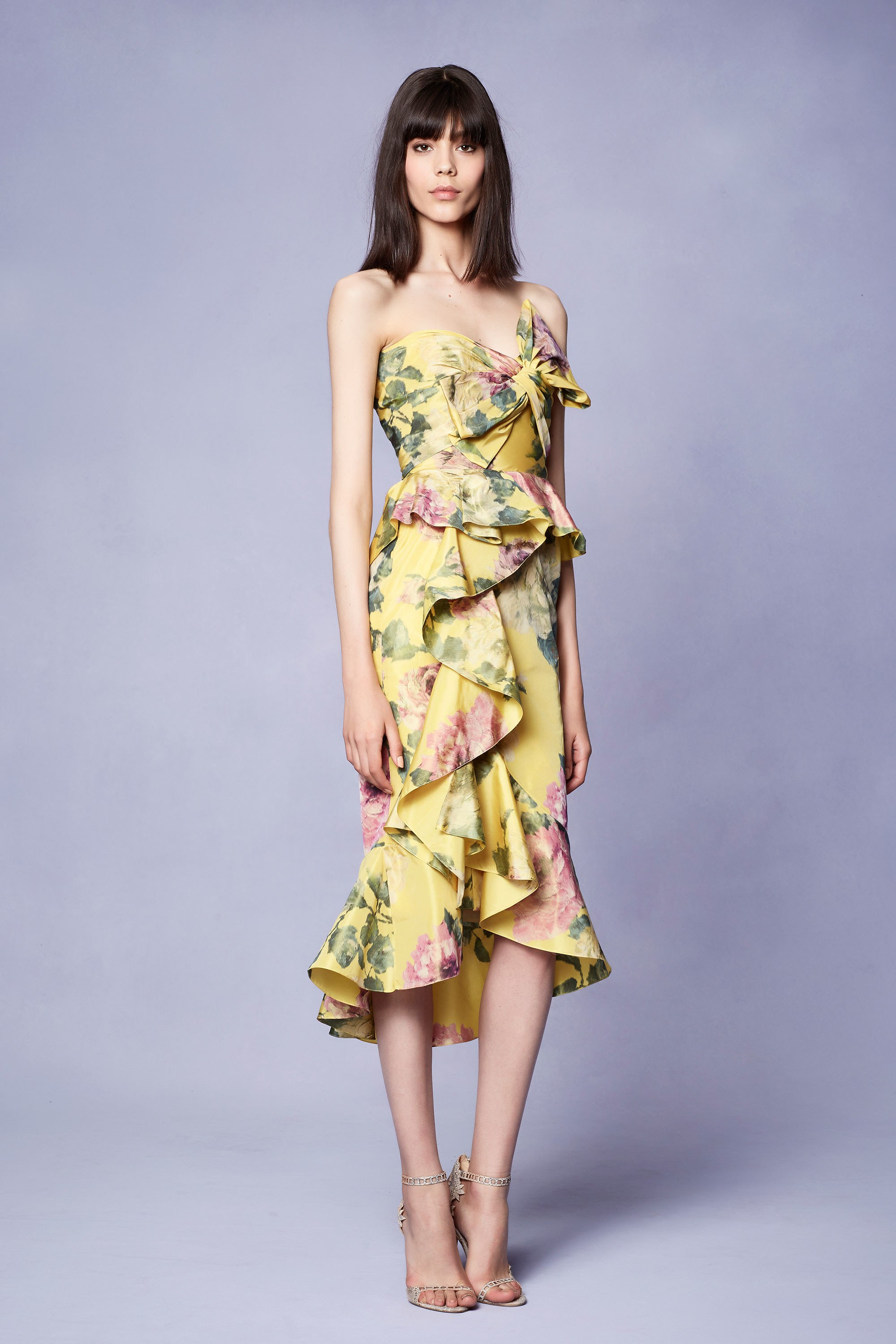 Resort 2018 Collections - Marchesa - Yellow Dress Floral Print Summer Outfit