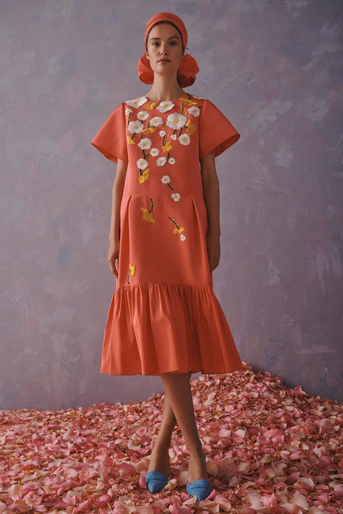 Carolina Herrera Resort 2020 | Orange dress with white florals