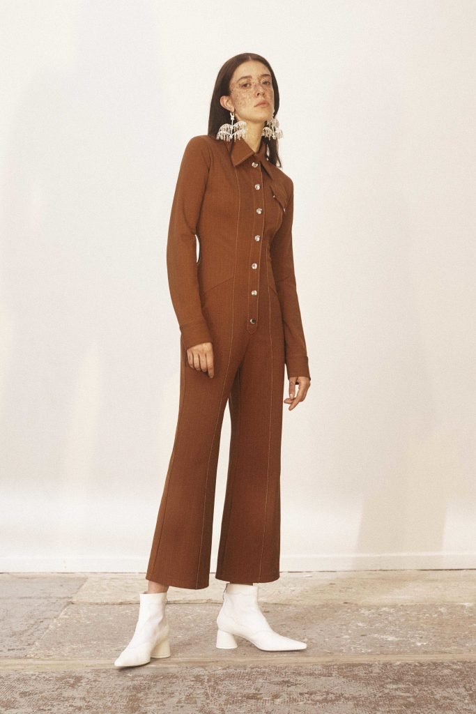 Ellery Resort 2019 - Buttons Summer 2019 Brown jumpsuit statement earrings freckles white boots