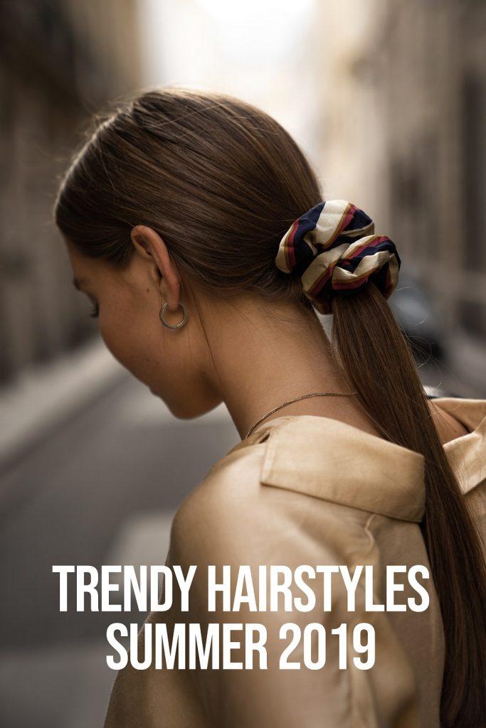Hairstyles Summer 2019 | low bun, scarf, barette, half up half down summer style summer look hair