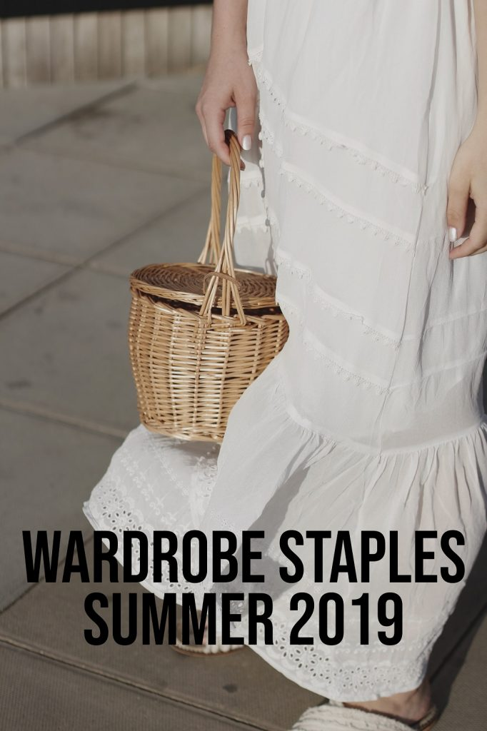 Wardrobe Staples Summer 2019 | White dress slippers patterned skirt graphic tee scarf