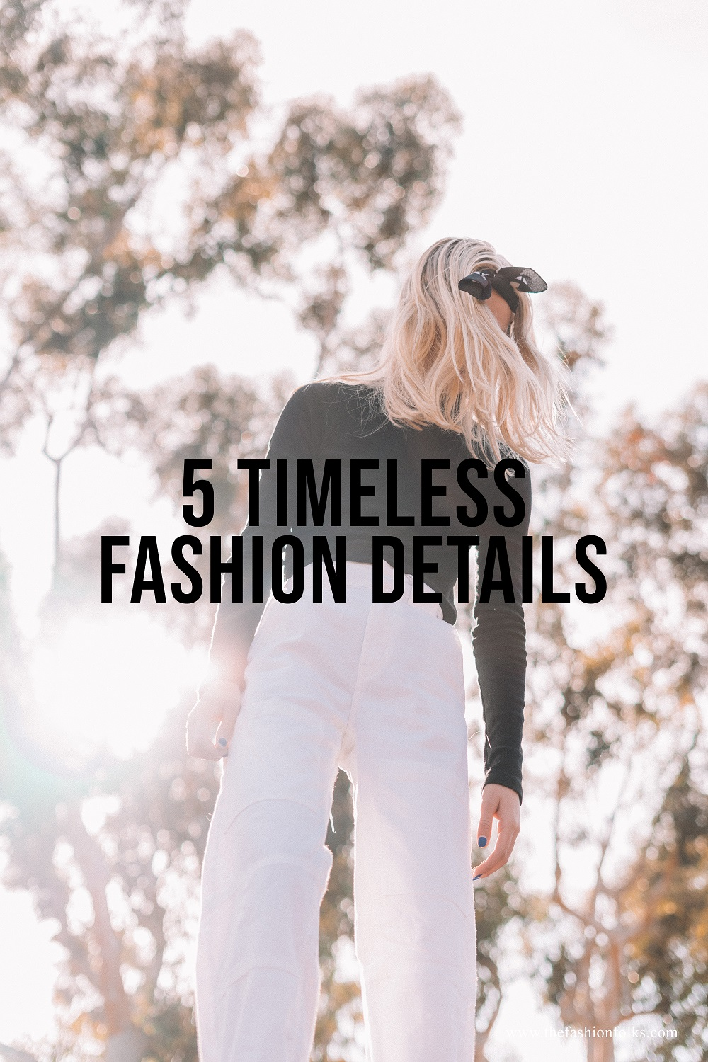 Timeless Fashion Details White Jeans Black Top Scarf