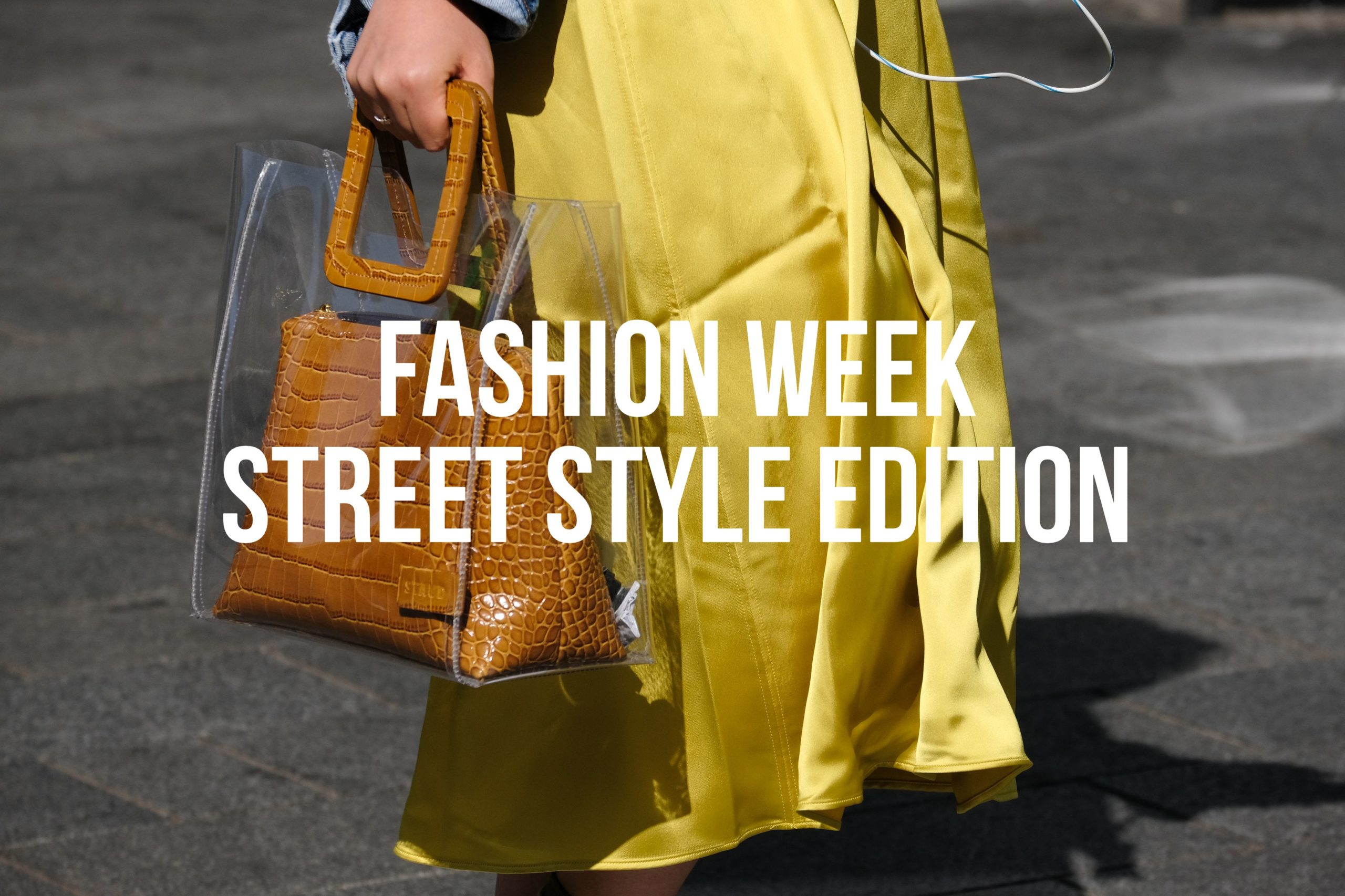 Brown Handbag Yellow Dress Fashion Week 2020
